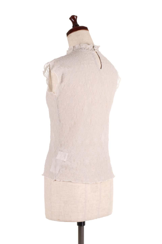SleevelessLaceTopストレッチ・総レーストップス大人カジュアルに最適な海外ファッションのothers(その他インポートアイテム)のトップスやシャツ・ブラウス。襟元と袖口のフリルが可愛い総レースのトップス。レイヤードのコーデが楽しめる総レースのアイテム。/main-13