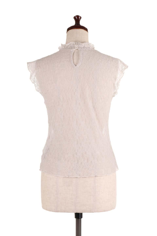 SleevelessLaceTopストレッチ・総レーストップス大人カジュアルに最適な海外ファッションのothers(その他インポートアイテム)のトップスやシャツ・ブラウス。襟元と袖口のフリルが可愛い総レースのトップス。レイヤードのコーデが楽しめる総レースのアイテム。/main-14