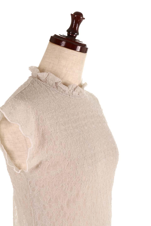 SleevelessLaceTopストレッチ・総レーストップス大人カジュアルに最適な海外ファッションのothers(その他インポートアイテム)のトップスやシャツ・ブラウス。襟元と袖口のフリルが可愛い総レースのトップス。レイヤードのコーデが楽しめる総レースのアイテム。/main-16