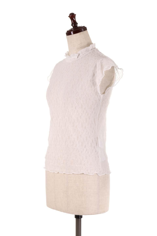 SleevelessLaceTopストレッチ・総レーストップス大人カジュアルに最適な海外ファッションのothers(その他インポートアイテム)のトップスやシャツ・ブラウス。襟元と袖口のフリルが可愛い総レースのトップス。レイヤードのコーデが楽しめる総レースのアイテム。/main-6