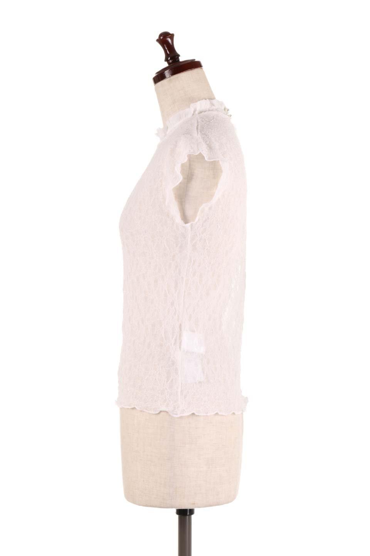 SleevelessLaceTopストレッチ・総レーストップス大人カジュアルに最適な海外ファッションのothers(その他インポートアイテム)のトップスやシャツ・ブラウス。襟元と袖口のフリルが可愛い総レースのトップス。レイヤードのコーデが楽しめる総レースのアイテム。/main-7