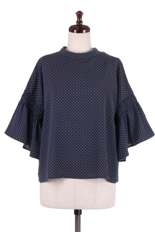 FlareSleeveDottedBlouseドットプリント・フレアスリーブブラウス大人カジュアルに最適な海外ファッションのothers(その他インポートアイテム)のトップスやシャツ・ブラウス。ヒラヒラのフレアスリーブが可愛い水玉模様のブラウス。ドットの柄が小さ目なので子供っぽくならないので人気があります。/main-10