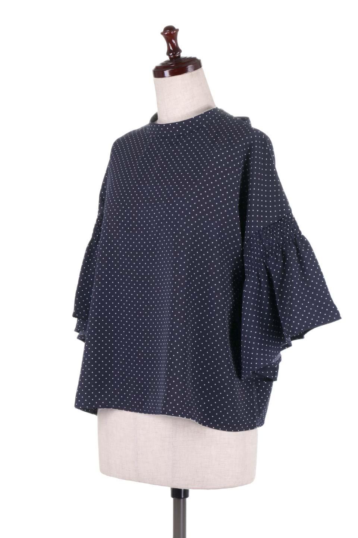 FlareSleeveDottedBlouseドットプリント・フレアスリーブブラウス大人カジュアルに最適な海外ファッションのothers(その他インポートアイテム)のトップスやシャツ・ブラウス。ヒラヒラのフレアスリーブが可愛い水玉模様のブラウス。ドットの柄が小さ目なので子供っぽくならないので人気があります。/main-11