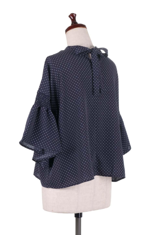 FlareSleeveDottedBlouseドットプリント・フレアスリーブブラウス大人カジュアルに最適な海外ファッションのothers(その他インポートアイテム)のトップスやシャツ・ブラウス。ヒラヒラのフレアスリーブが可愛い水玉模様のブラウス。ドットの柄が小さ目なので子供っぽくならないので人気があります。/main-13