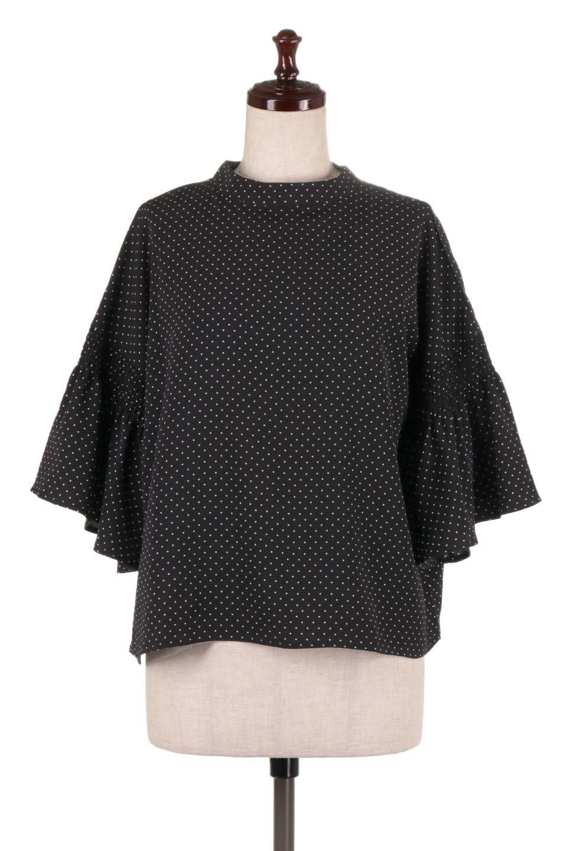 FlareSleeveDottedBlouseドットプリント・フレアスリーブブラウス大人カジュアルに最適な海外ファッションのothers(その他インポートアイテム)のトップスやシャツ・ブラウス。ヒラヒラのフレアスリーブが可愛い水玉模様のブラウス。ドットの柄が小さ目なので子供っぽくならないので人気があります。/main-15