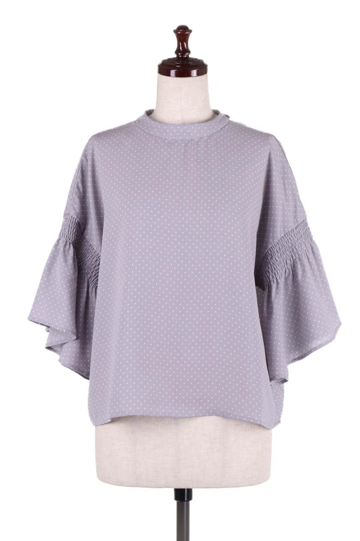FlareSleeveDottedBlouseドットプリント・フレアスリーブブラウス大人カジュアルに最適な海外ファッションのothers(その他インポートアイテム)のトップスやシャツ・ブラウス。ヒラヒラのフレアスリーブが可愛い水玉模様のブラウス。ドットの柄が小さ目なので子供っぽくならないので人気があります。/main-5