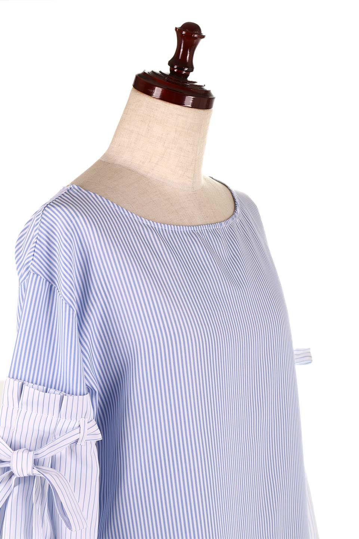 TuckSleeveStripedBlouse切り替えストライプブラウス大人カジュアルに最適な海外ファッションのothers(その他インポートアイテム)のトップスやシャツ・ブラウス。爽やかなストライプ柄のデザインブラウス。2種類のストライプ生地を用いたフレアスリーブがポイントのブラウス。/main-15