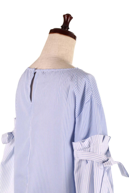 TuckSleeveStripedBlouse切り替えストライプブラウス大人カジュアルに最適な海外ファッションのothers(その他インポートアイテム)のトップスやシャツ・ブラウス。爽やかなストライプ柄のデザインブラウス。2種類のストライプ生地を用いたフレアスリーブがポイントのブラウス。/main-16