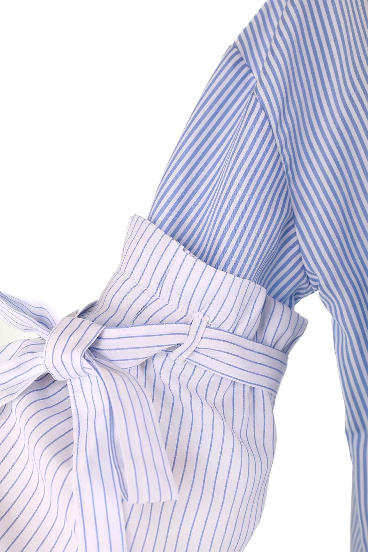 TuckSleeveStripedBlouse切り替えストライプブラウス大人カジュアルに最適な海外ファッションのothers(その他インポートアイテム)のトップスやシャツ・ブラウス。爽やかなストライプ柄のデザインブラウス。2種類のストライプ生地を用いたフレアスリーブがポイントのブラウス。/main-21