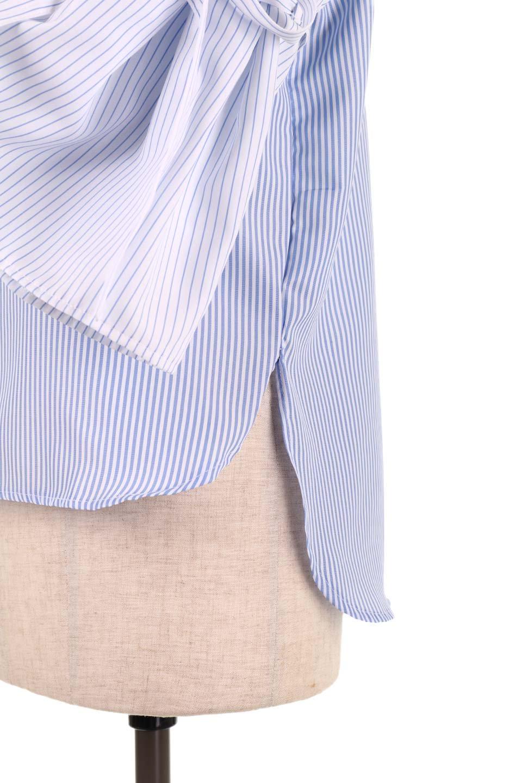 TuckSleeveStripedBlouse切り替えストライプブラウス大人カジュアルに最適な海外ファッションのothers(その他インポートアイテム)のトップスやシャツ・ブラウス。爽やかなストライプ柄のデザインブラウス。2種類のストライプ生地を用いたフレアスリーブがポイントのブラウス。/main-22
