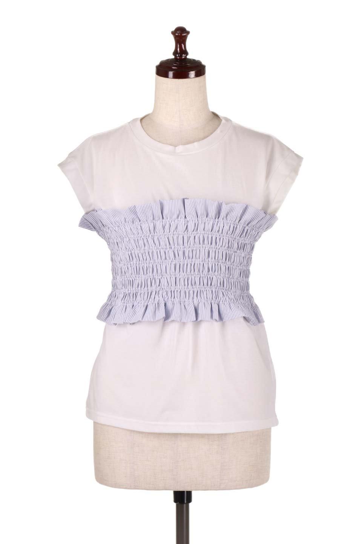 FrenchSleeveTeew/Bustierビスチェスタイル・ドッキングTシャツ大人カジュアルに最適な海外ファッションのothers(その他インポートアイテム)のトップスやTシャツ。大人気、シンプルなフレンチスリーブのTシャツにストライプのビスチェが付いたドッキングTシャツ。締め付けすぎないギャザーがスタイルよく見せてくれます。/main-10