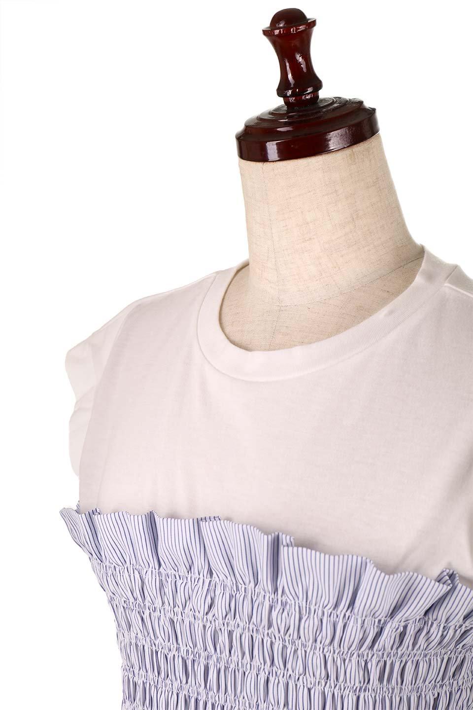 FrenchSleeveTeew/Bustierビスチェスタイル・ドッキングTシャツ大人カジュアルに最適な海外ファッションのothers(その他インポートアイテム)のトップスやTシャツ。大人気、シンプルなフレンチスリーブのTシャツにストライプのビスチェが付いたドッキングTシャツ。締め付けすぎないギャザーがスタイルよく見せてくれます。/main-15