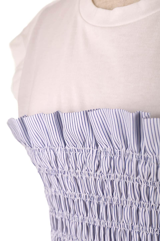 FrenchSleeveTeew/Bustierビスチェスタイル・ドッキングTシャツ大人カジュアルに最適な海外ファッションのothers(その他インポートアイテム)のトップスやTシャツ。大人気、シンプルなフレンチスリーブのTシャツにストライプのビスチェが付いたドッキングTシャツ。締め付けすぎないギャザーがスタイルよく見せてくれます。/main-19