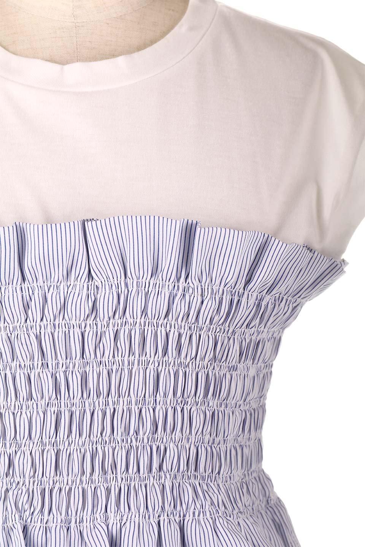 FrenchSleeveTeew/Bustierビスチェスタイル・ドッキングTシャツ大人カジュアルに最適な海外ファッションのothers(その他インポートアイテム)のトップスやTシャツ。大人気、シンプルなフレンチスリーブのTシャツにストライプのビスチェが付いたドッキングTシャツ。締め付けすぎないギャザーがスタイルよく見せてくれます。/main-20