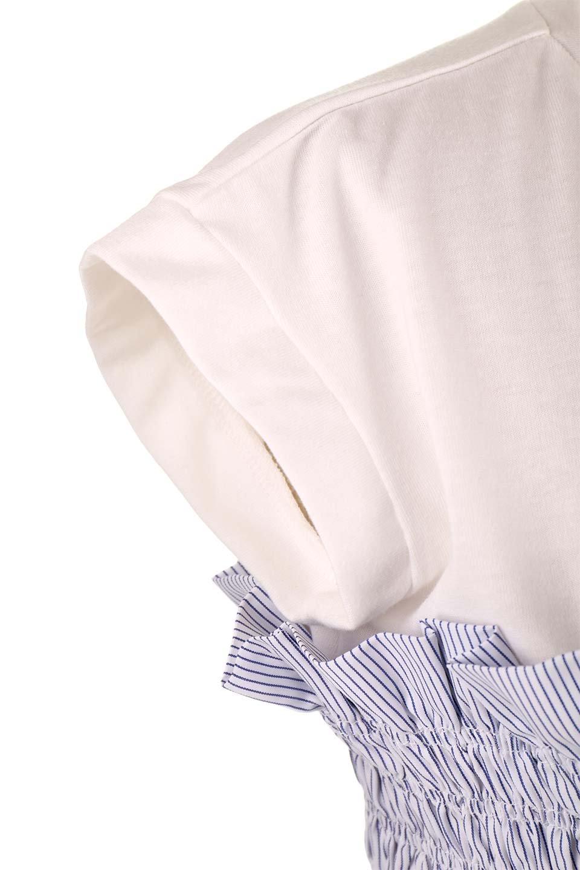 FrenchSleeveTeew/Bustierビスチェスタイル・ドッキングTシャツ大人カジュアルに最適な海外ファッションのothers(その他インポートアイテム)のトップスやTシャツ。大人気、シンプルなフレンチスリーブのTシャツにストライプのビスチェが付いたドッキングTシャツ。締め付けすぎないギャザーがスタイルよく見せてくれます。/main-21