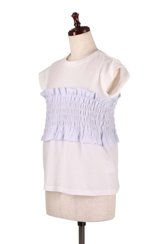 FrenchSleeveTeew/Bustierビスチェスタイル・ドッキングTシャツ大人カジュアルに最適な海外ファッションのothers(その他インポートアイテム)のトップスやTシャツ。大人気、シンプルなフレンチスリーブのTシャツにストライプのビスチェが付いたドッキングTシャツ。締め付けすぎないギャザーがスタイルよく見せてくれます。/main-5