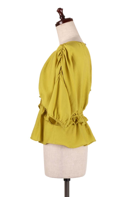 OpenBackGatherBlouse変形ドルマン・ギャザーブラウス大人カジュアルに最適な海外ファッションのothers(その他インポートアイテム)のトップスやシャツ・ブラウス。凹凸感のあるテロテロ生地が気持ち良いドルマンスリーブのブラウス。袖の部分は2段階に膨らんだ変形タイプのドルマンスリーブ。/main-12
