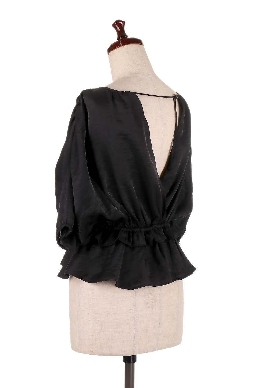OpenBackGatherBlouse変形ドルマン・ギャザーブラウス大人カジュアルに最適な海外ファッションのothers(その他インポートアイテム)のトップスやシャツ・ブラウス。凹凸感のあるテロテロ生地が気持ち良いドルマンスリーブのブラウス。袖の部分は2段階に膨らんだ変形タイプのドルマンスリーブ。/main-18