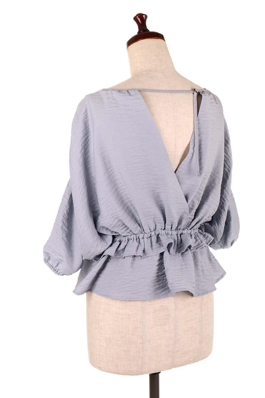 OpenBackGatherBlouse変形ドルマン・ギャザーブラウス大人カジュアルに最適な海外ファッションのothers(その他インポートアイテム)のトップスやシャツ・ブラウス。凹凸感のあるテロテロ生地が気持ち良いドルマンスリーブのブラウス。袖の部分は2段階に膨らんだ変形タイプのドルマンスリーブ。/main-28