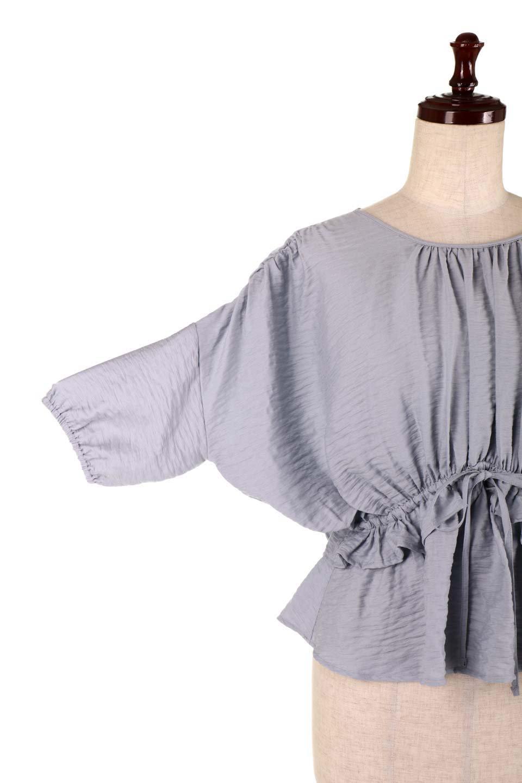 OpenBackGatherBlouse変形ドルマン・ギャザーブラウス大人カジュアルに最適な海外ファッションのothers(その他インポートアイテム)のトップスやシャツ・ブラウス。凹凸感のあるテロテロ生地が気持ち良いドルマンスリーブのブラウス。袖の部分は2段階に膨らんだ変形タイプのドルマンスリーブ。/main-30
