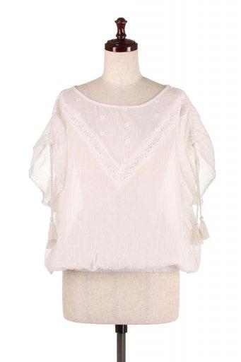 海外ファッション好きのためのカリフォルニアテイストの大人カジュアルインポートブランドLOVESTITCH(ラブステッチ)のAnya Top (Whtie) 刺繍入りコットンガーゼブラウス