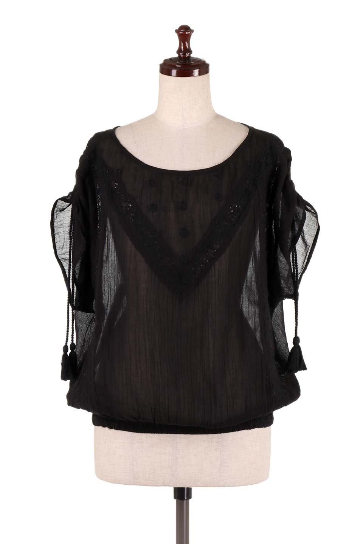 LOVESTITCHのAnyaTop(Black)刺繍入りコットンガーゼブラウス/海外ファッションが好きな大人カジュアルのためのLOVESTITCH(ラブステッチ)のトップスやシャツ・ブラウス。ボヘミアンテイストのショート丈コットンガーゼブラウス。ガーゼの透け感が上品で夏らしいアイテム。