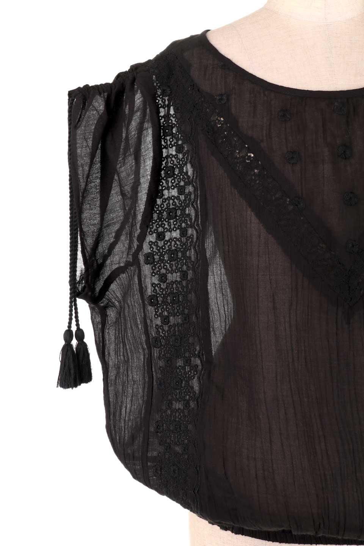LOVESTITCHのAnyaTop(Black)刺繍入りコットンガーゼブラウス/海外ファッションが好きな大人カジュアルのためのLOVESTITCH(ラブステッチ)のトップスやシャツ・ブラウス。ボヘミアンテイストのショート丈コットンガーゼブラウス。ガーゼの透け感が上品で夏らしいアイテム。/main-13
