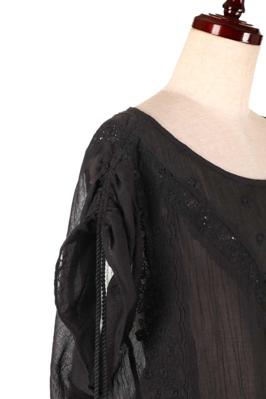 LOVESTITCHのAnyaTop(Black)刺繍入りコットンガーゼブラウス/海外ファッションが好きな大人カジュアルのためのLOVESTITCH(ラブステッチ)のトップスやシャツ・ブラウス。ボヘミアンテイストのショート丈コットンガーゼブラウス。ガーゼの透け感が上品で夏らしいアイテム。/main-5