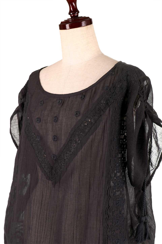 LOVESTITCHのAnyaTop(Black)刺繍入りコットンガーゼブラウス/海外ファッションが好きな大人カジュアルのためのLOVESTITCH(ラブステッチ)のトップスやシャツ・ブラウス。ボヘミアンテイストのショート丈コットンガーゼブラウス。ガーゼの透け感が上品で夏らしいアイテム。/main-6