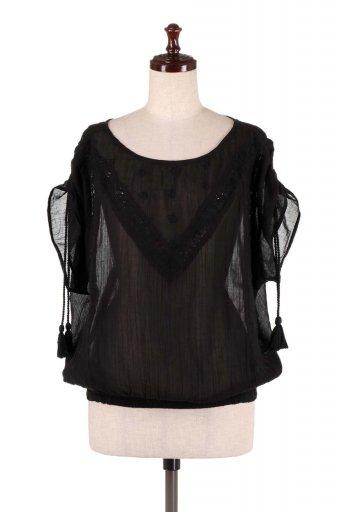 海外ファッション好きのためのカリフォルニアテイストの大人カジュアルインポートブランドLOVESTITCH(ラブステッチ)のAnya Top (Black) 刺繍入りコットンガーゼブラウス
