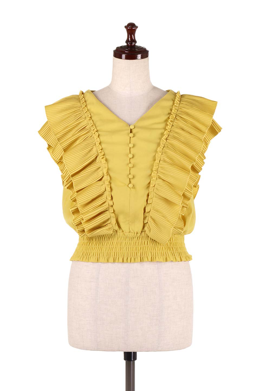 PleatedFrillingBlouseプリーツフリルブラウス大人カジュアルに最適な海外ファッションのothers(その他インポートアイテム)のトップスやシャツ・ブラウス。細かいプリーツのフリルが可愛いショート丈のブラウス。胸から肩をまたいで腰の部分までボリュームたっぷりのフリルが特徴。/main-10