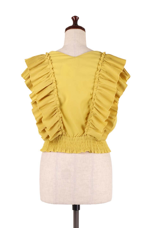 PleatedFrillingBlouseプリーツフリルブラウス大人カジュアルに最適な海外ファッションのothers(その他インポートアイテム)のトップスやシャツ・ブラウス。細かいプリーツのフリルが可愛いショート丈のブラウス。胸から肩をまたいで腰の部分までボリュームたっぷりのフリルが特徴。/main-14