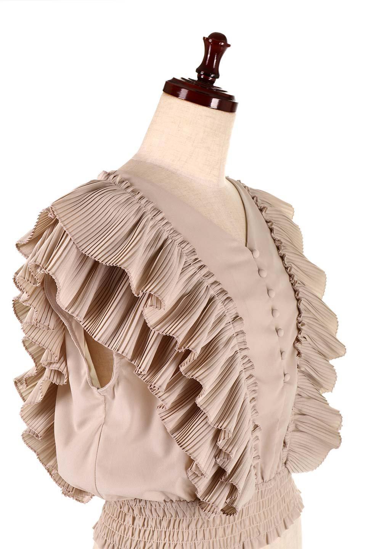 PleatedFrillingBlouseプリーツフリルブラウス大人カジュアルに最適な海外ファッションのothers(その他インポートアイテム)のトップスやシャツ・ブラウス。細かいプリーツのフリルが可愛いショート丈のブラウス。胸から肩をまたいで腰の部分までボリュームたっぷりのフリルが特徴。/main-20