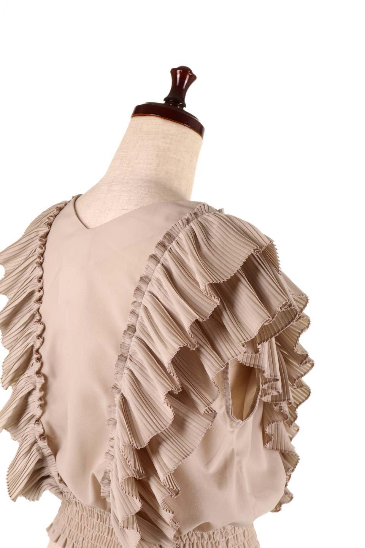 PleatedFrillingBlouseプリーツフリルブラウス大人カジュアルに最適な海外ファッションのothers(その他インポートアイテム)のトップスやシャツ・ブラウス。細かいプリーツのフリルが可愛いショート丈のブラウス。胸から肩をまたいで腰の部分までボリュームたっぷりのフリルが特徴。/main-24