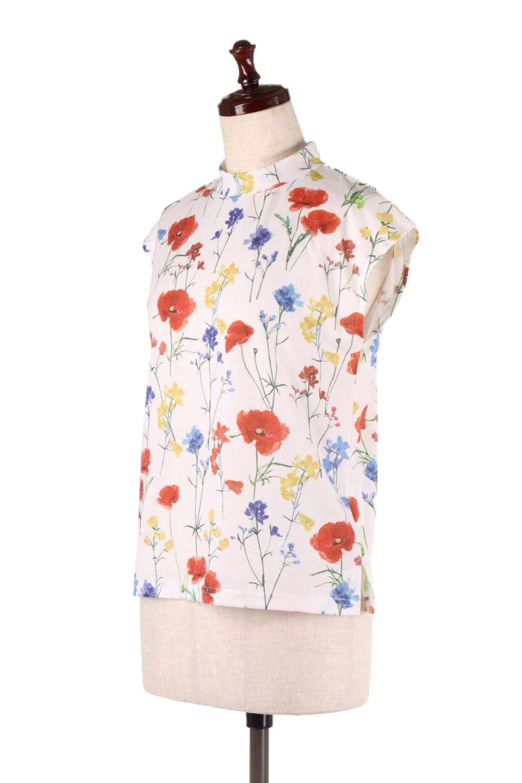 StandNeckFlowerTopスタンドカラー花柄トップス大人カジュアルに最適な海外ファッションのothers(その他インポートアイテム)のトップスやカットソー。可愛らしい花柄のノースリーブトップス。水彩画のような花のプリントにウォッシュ加工が施され、カジュアルな雰囲気です。/main-6