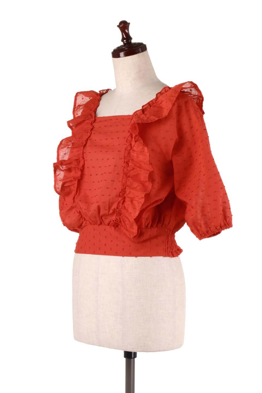 Cut-DobbyFrillBlouseカットドビー・フリルブラウス大人カジュアルに最適な海外ファッションのothers(その他インポートアイテム)のトップスやシャツ・ブラウス。カットドビー織が可愛いフリルブラウス。ポツポツと見えるドビー織が可愛いアイテム。/main-10