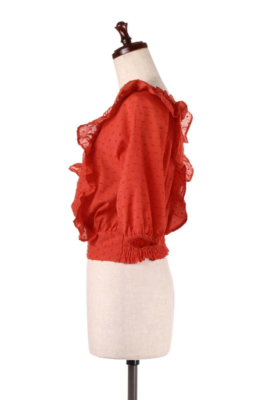 Cut-DobbyFrillBlouseカットドビー・フリルブラウス大人カジュアルに最適な海外ファッションのothers(その他インポートアイテム)のトップスやシャツ・ブラウス。カットドビー織が可愛いフリルブラウス。ポツポツと見えるドビー織が可愛いアイテム。/main-11