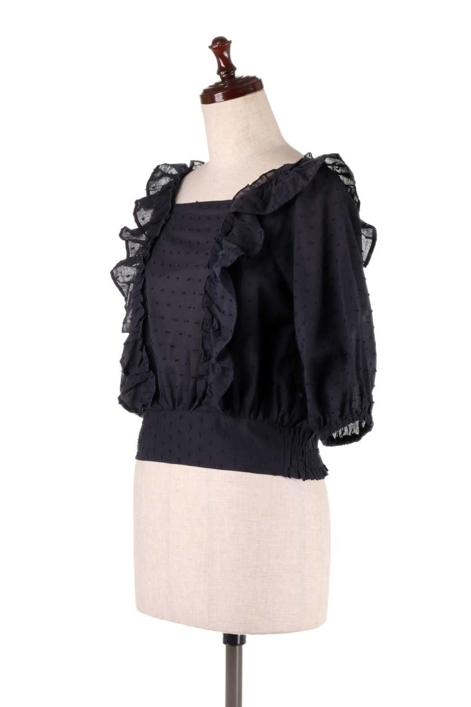 Cut-DobbyFrillBlouseカットドビー・フリルブラウス大人カジュアルに最適な海外ファッションのothers(その他インポートアイテム)のトップスやシャツ・ブラウス。カットドビー織が可愛いフリルブラウス。ポツポツと見えるドビー織が可愛いアイテム。/main-15