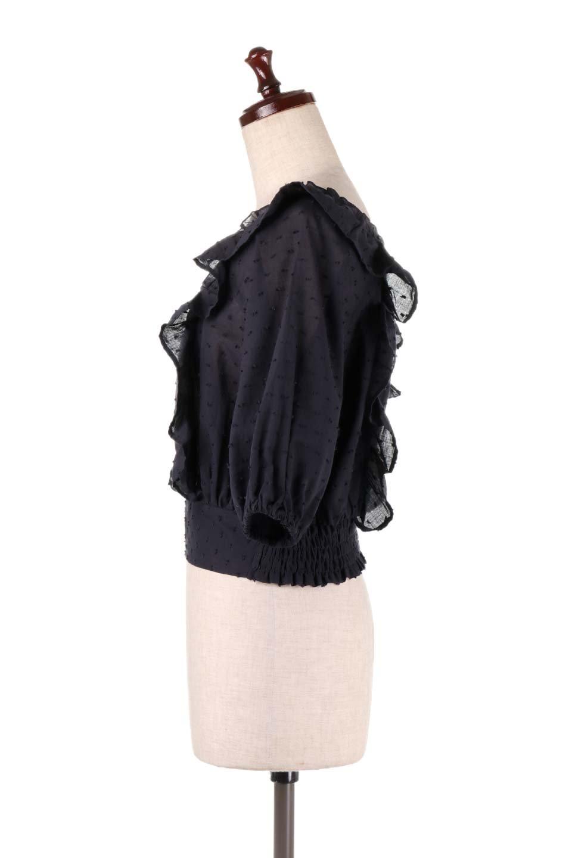 Cut-DobbyFrillBlouseカットドビー・フリルブラウス大人カジュアルに最適な海外ファッションのothers(その他インポートアイテム)のトップスやシャツ・ブラウス。カットドビー織が可愛いフリルブラウス。ポツポツと見えるドビー織が可愛いアイテム。/main-16
