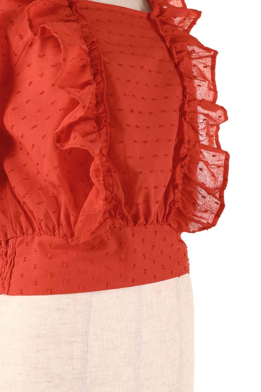 Cut-DobbyFrillBlouseカットドビー・フリルブラウス大人カジュアルに最適な海外ファッションのothers(その他インポートアイテム)のトップスやシャツ・ブラウス。カットドビー織が可愛いフリルブラウス。ポツポツと見えるドビー織が可愛いアイテム。/main-27