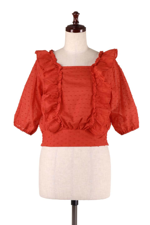 Cut-DobbyFrillBlouseカットドビー・フリルブラウス大人カジュアルに最適な海外ファッションのothers(その他インポートアイテム)のトップスやシャツ・ブラウス。カットドビー織が可愛いフリルブラウス。ポツポツと見えるドビー織が可愛いアイテム。/main-9