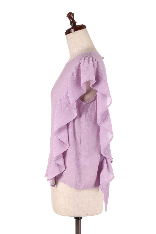 FrilledOpenBackBlouseオープンバック・フリルブラウス大人カジュアルに最適な海外ファッションのothers(その他インポートアイテム)のトップスやシャツ・ブラウス。ボリューム感のあるフリルが可愛いオープンバックのブラウス。肩から裾にかけての大き目フリルが体系隠し効果にもなる人気アイテム。/main-12