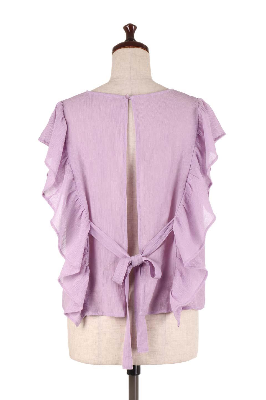 FrilledOpenBackBlouseオープンバック・フリルブラウス大人カジュアルに最適な海外ファッションのothers(その他インポートアイテム)のトップスやシャツ・ブラウス。ボリューム感のあるフリルが可愛いオープンバックのブラウス。肩から裾にかけての大き目フリルが体系隠し効果にもなる人気アイテム。/main-14