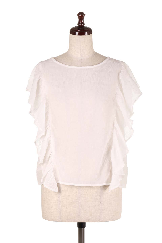 FrilledOpenBackBlouseオープンバック・フリルブラウス大人カジュアルに最適な海外ファッションのothers(その他インポートアイテム)のトップスやシャツ・ブラウス。ボリューム感のあるフリルが可愛いオープンバックのブラウス。肩から裾にかけての大き目フリルが体系隠し効果にもなる人気アイテム。/main-5