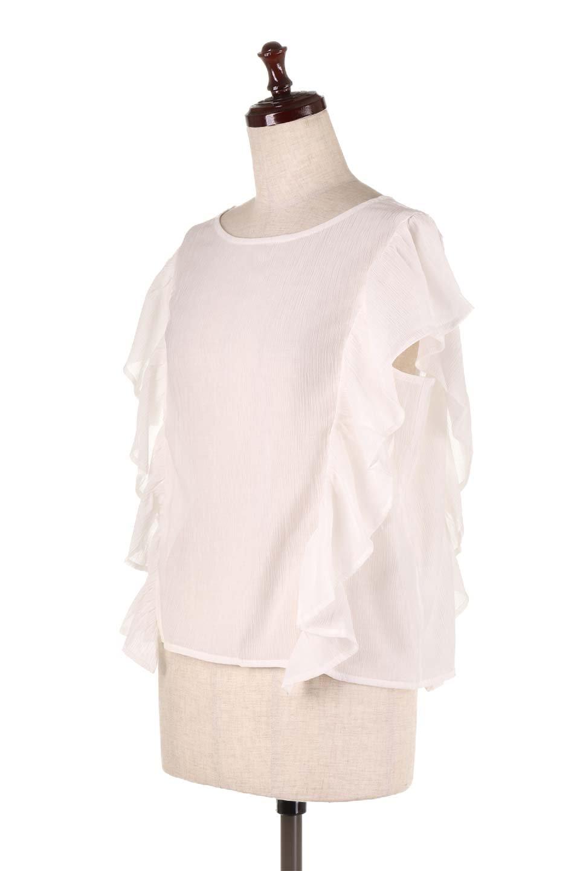 FrilledOpenBackBlouseオープンバック・フリルブラウス大人カジュアルに最適な海外ファッションのothers(その他インポートアイテム)のトップスやシャツ・ブラウス。ボリューム感のあるフリルが可愛いオープンバックのブラウス。肩から裾にかけての大き目フリルが体系隠し効果にもなる人気アイテム。/main-6