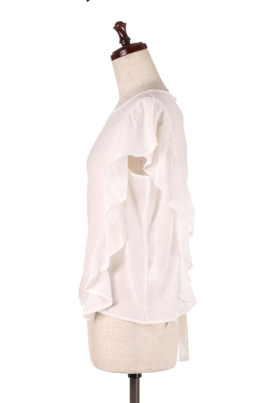 FrilledOpenBackBlouseオープンバック・フリルブラウス大人カジュアルに最適な海外ファッションのothers(その他インポートアイテム)のトップスやシャツ・ブラウス。ボリューム感のあるフリルが可愛いオープンバックのブラウス。肩から裾にかけての大き目フリルが体系隠し効果にもなる人気アイテム。/main-7