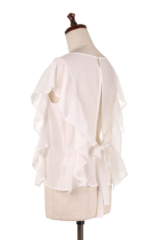 FrilledOpenBackBlouseオープンバック・フリルブラウス大人カジュアルに最適な海外ファッションのothers(その他インポートアイテム)のトップスやシャツ・ブラウス。ボリューム感のあるフリルが可愛いオープンバックのブラウス。肩から裾にかけての大き目フリルが体系隠し効果にもなる人気アイテム。/main-8