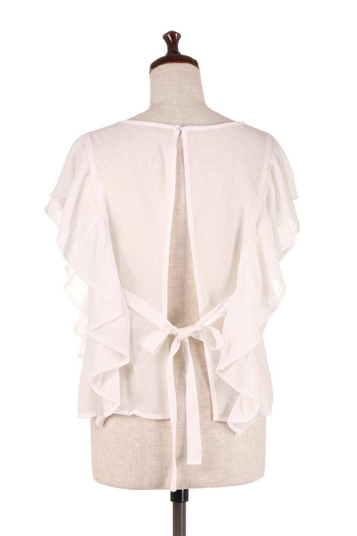 FrilledOpenBackBlouseオープンバック・フリルブラウス大人カジュアルに最適な海外ファッションのothers(その他インポートアイテム)のトップスやシャツ・ブラウス。ボリューム感のあるフリルが可愛いオープンバックのブラウス。肩から裾にかけての大き目フリルが体系隠し効果にもなる人気アイテム。/main-9