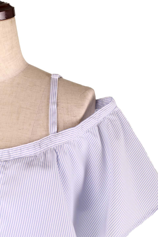 AsymmetricalOneShoulderStripedBlouseアシメントリー・ワンショルダーブラウス大人カジュアルに最適な海外ファッションのothers(その他インポートアイテム)のトップスやシャツ・ブラウス。アシメントリーデザインが可愛いストラップ付ワンショルダーブラウス。大き目のフリルがうまく二の腕を隠してくれる嬉しいアイテムです。/main-15