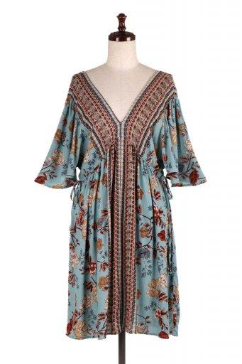 海外ファッションや大人カジュアルのためのボヘミアンブランドANGIE(アンジー)のV-neck Cross Back Summer Dress Vネック・花柄ワンピース